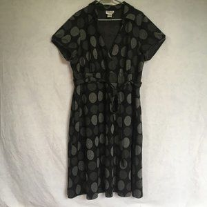 Robbie Bee Black and Gray Circles Dress